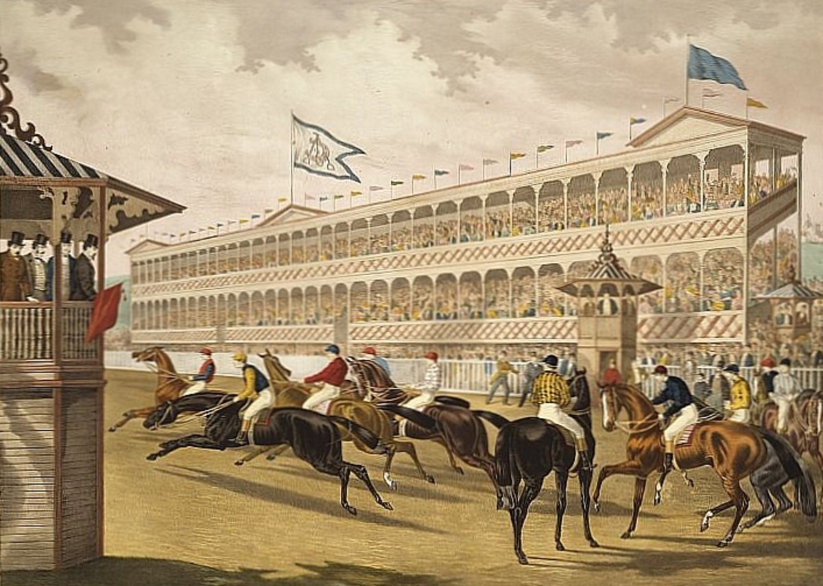 """This 1868 print by William C. Robertson, titled """"The False Start,"""" features the grand stand of Jerome Park in the background. Jerome Park was the first site of the Belmont Stakes."""