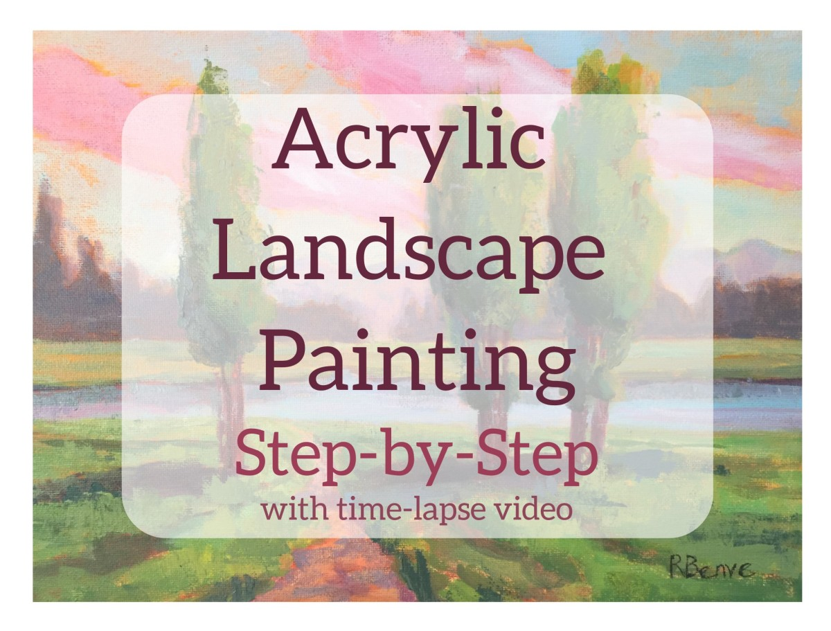 Landscape painting with acrylics on canvas,  step-by-step. Based on a preliminary sketch and a color study.