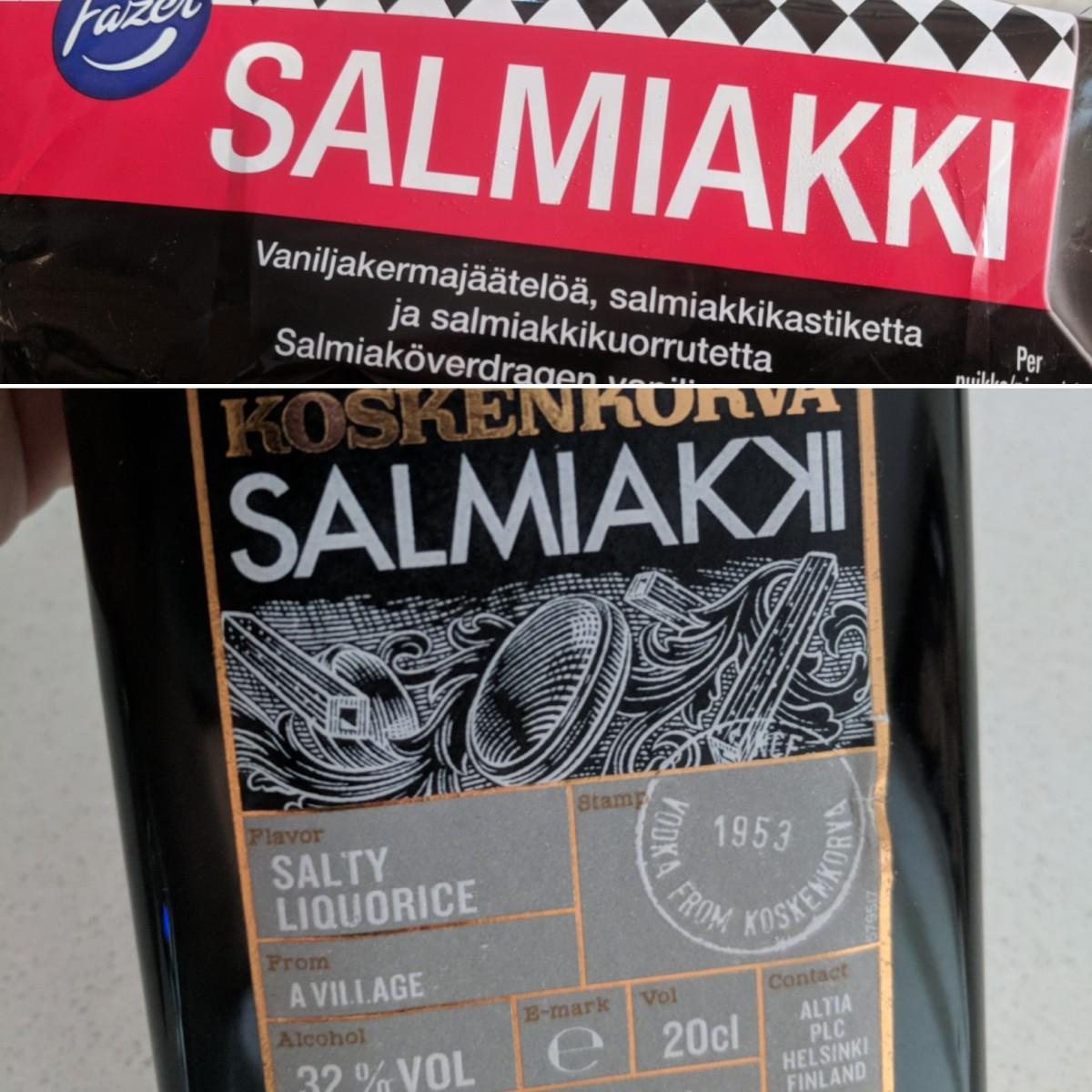 Salmiakki ice cream bar and liqueur.