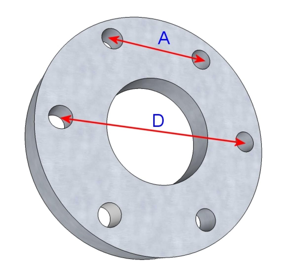 Bolt circle diameter (BCD)