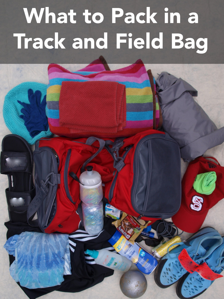 A list of items you'll need in a track and field bag for practice and for meets.