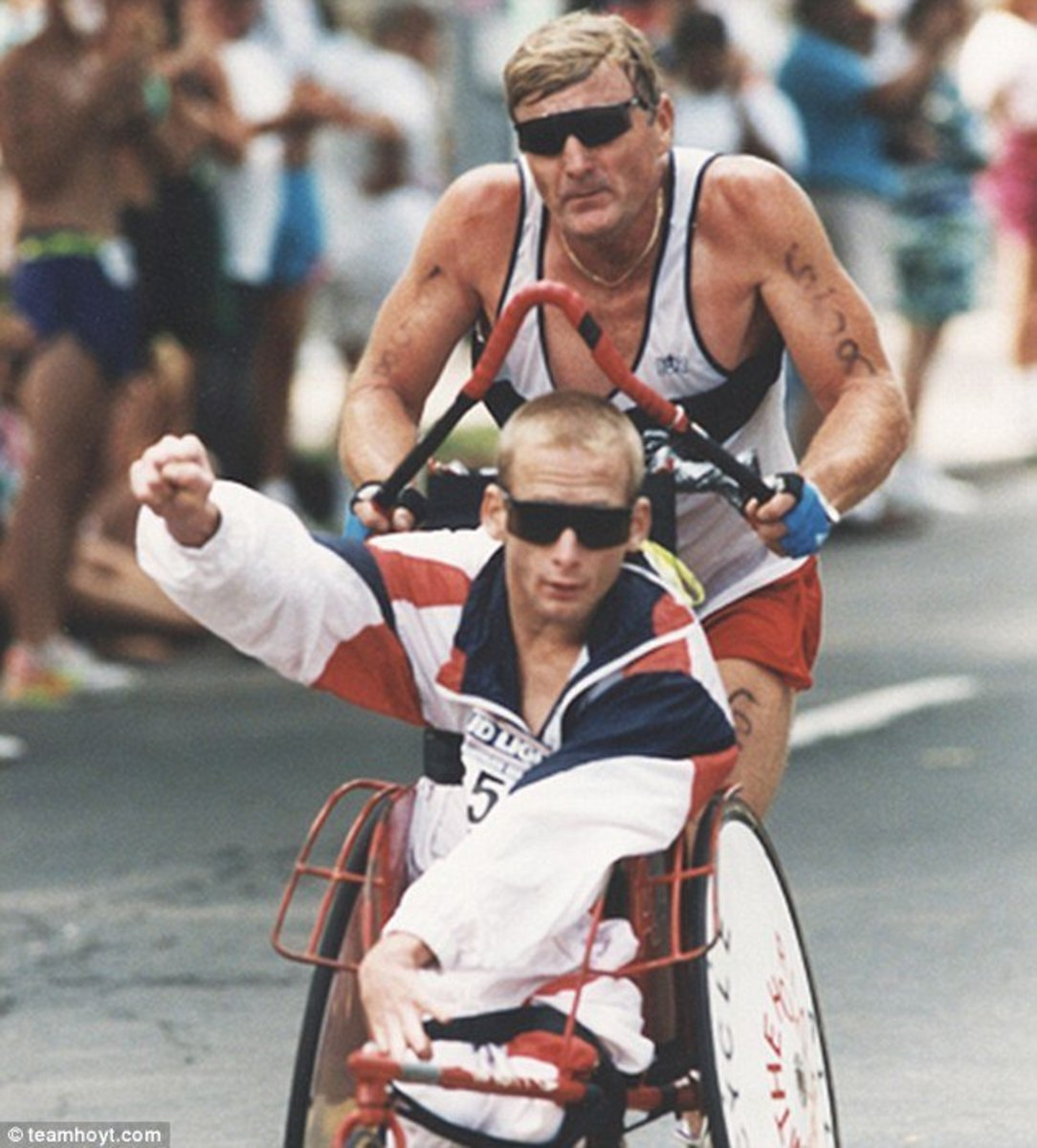 Dick and Rick Hoyt in an Ironman Triathlon.