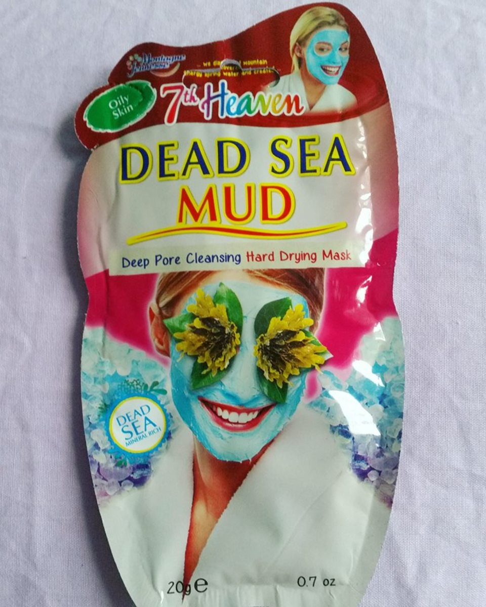 The outer packaging of the 7th Heaven Dead Sea Mud Face Mask.
