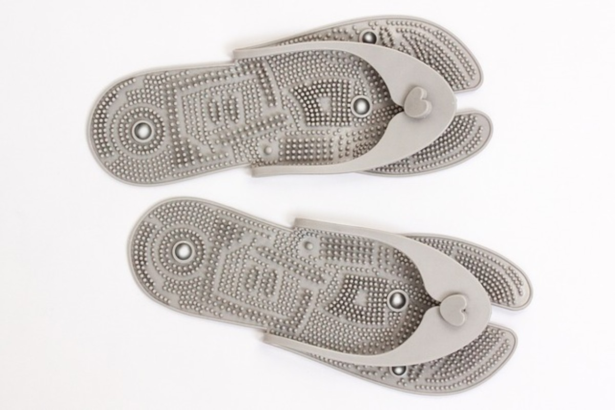 Reflexology massage shoes that many of my friends and I have used with good results.