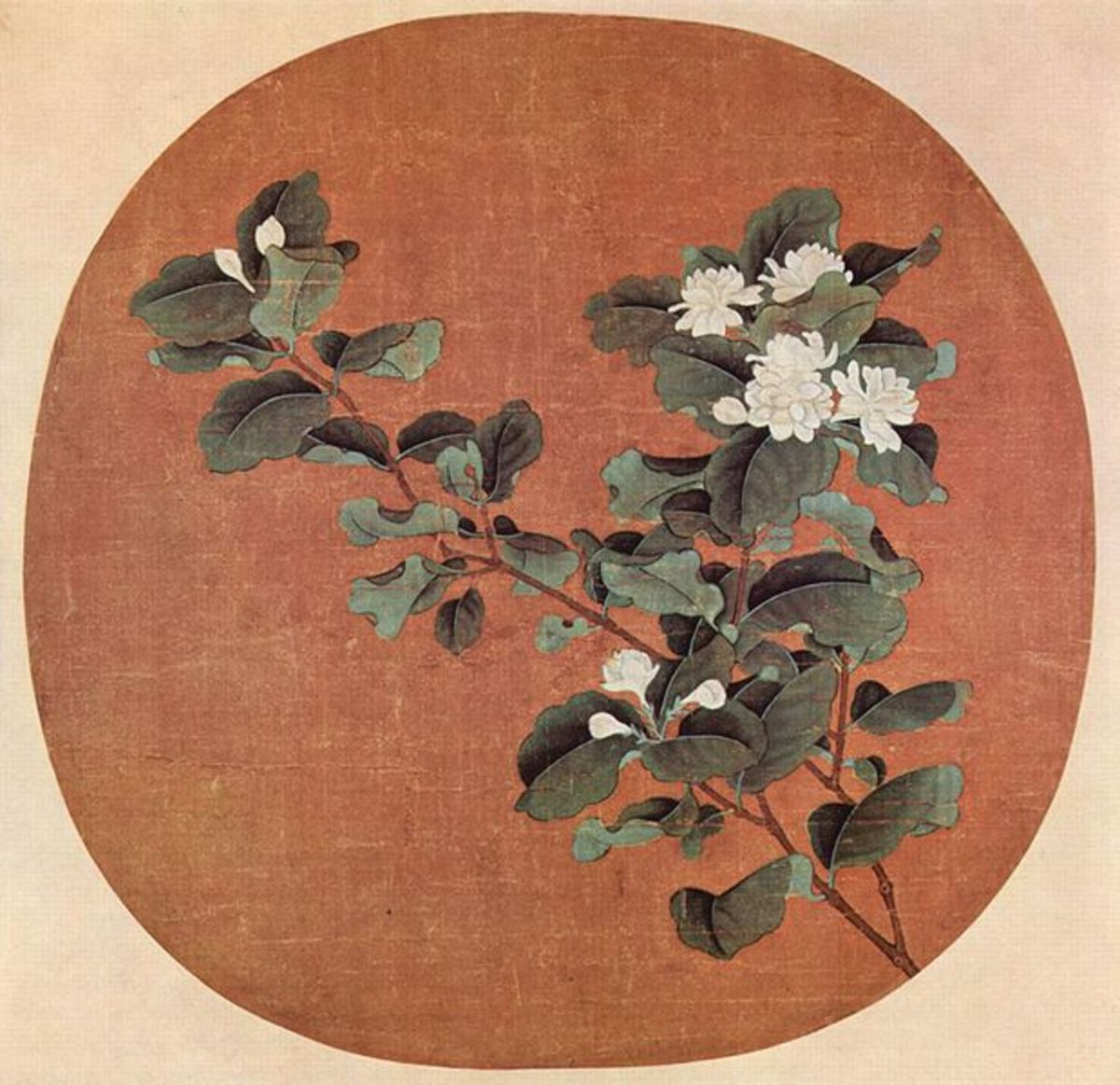Chinese painting on silk from the early 12th century, showing jasmine flowers in bloom.