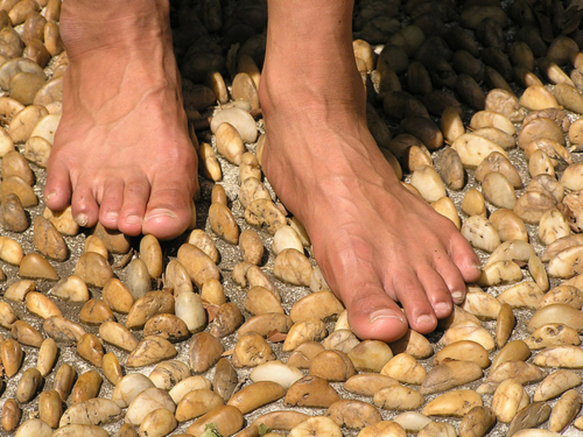 Here, I am experiencing the benefits of a foot reflexology path while walking barefoot.