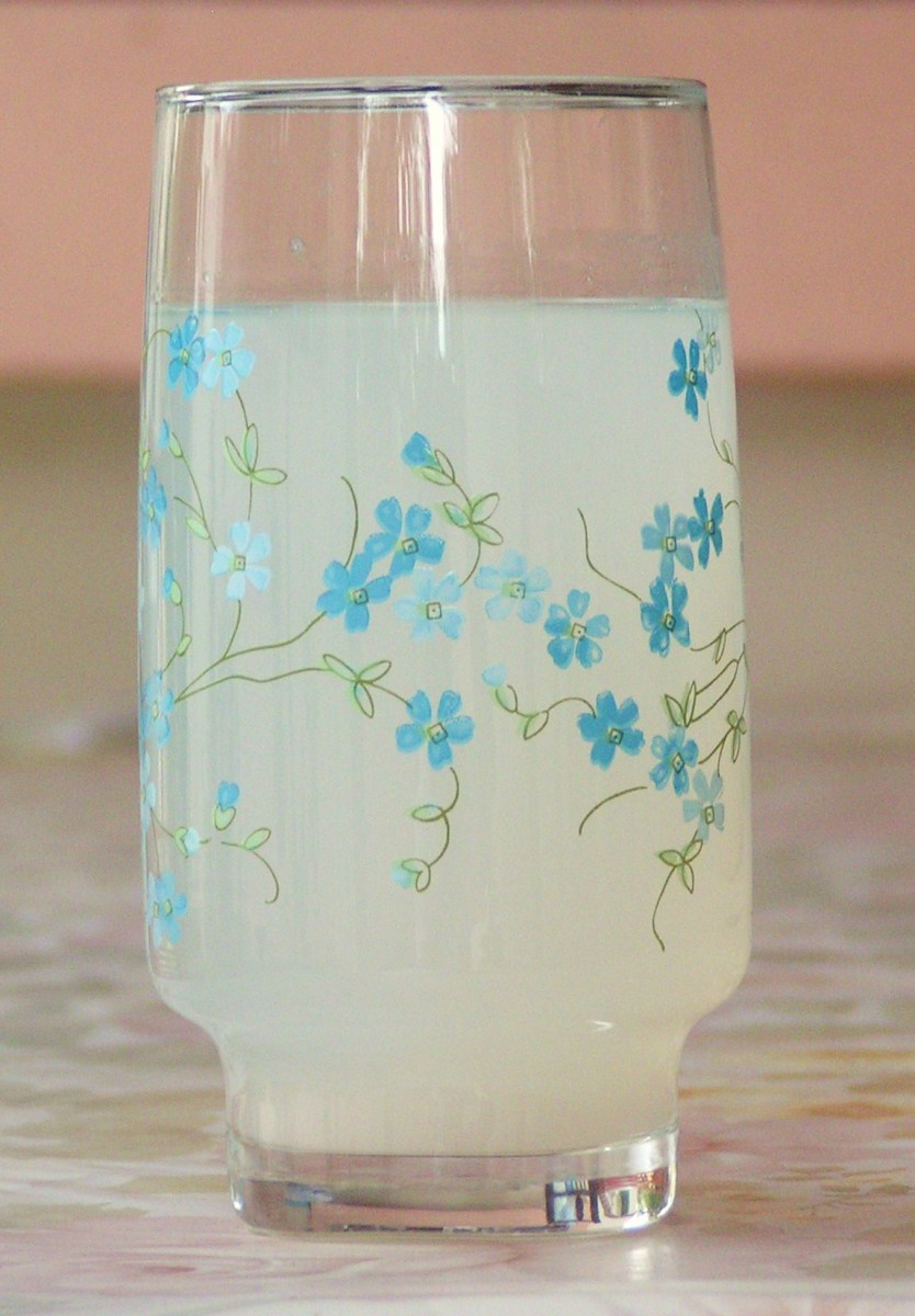 A glass of rice water.