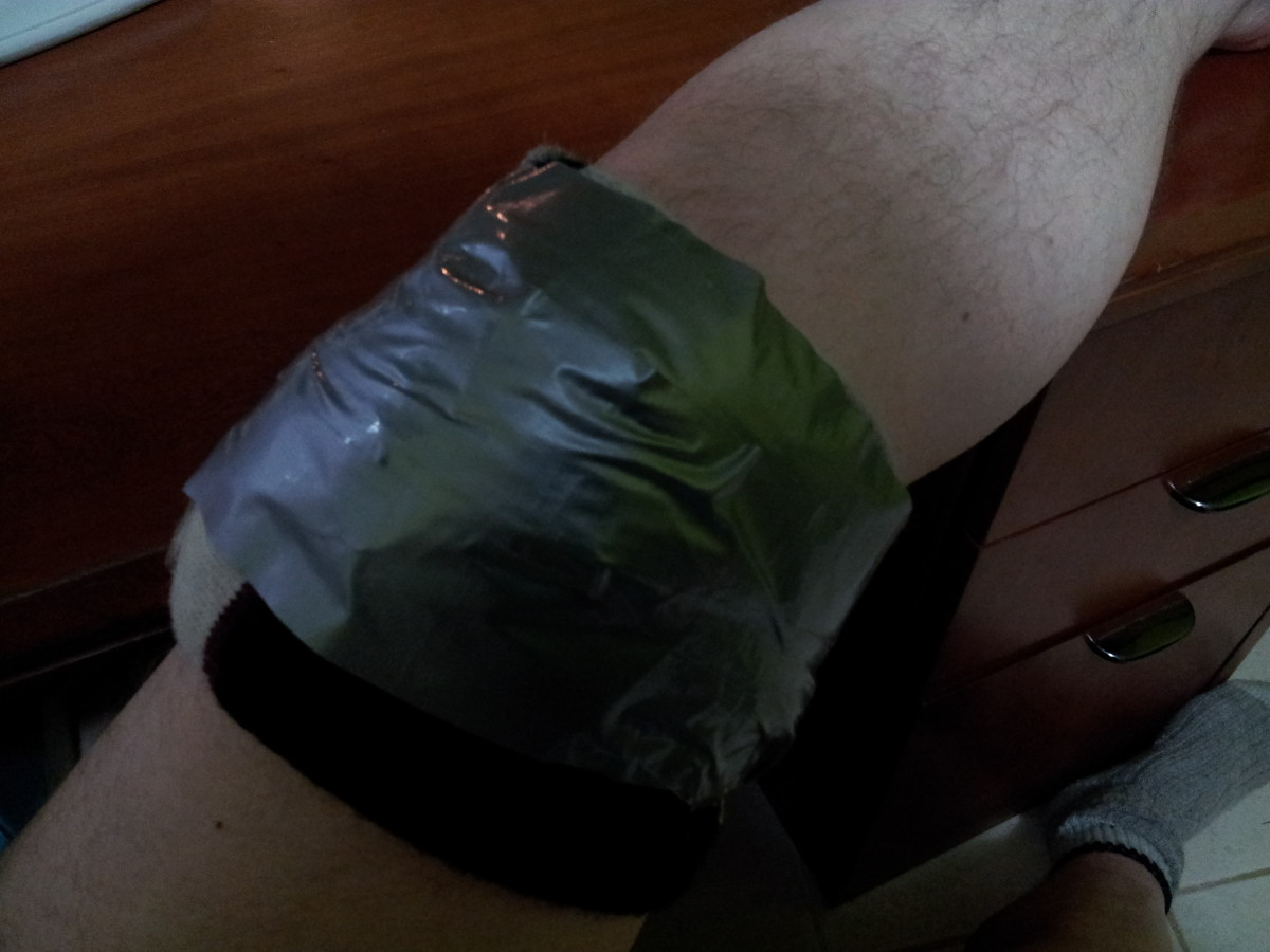 Wrapped in 2 socks and bound with duct tape