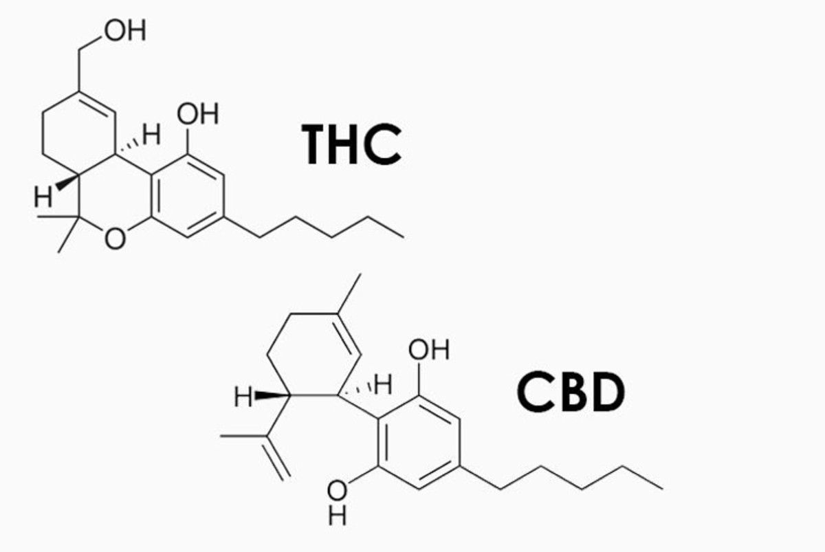 These are the two molecular structures for THC and CBD.