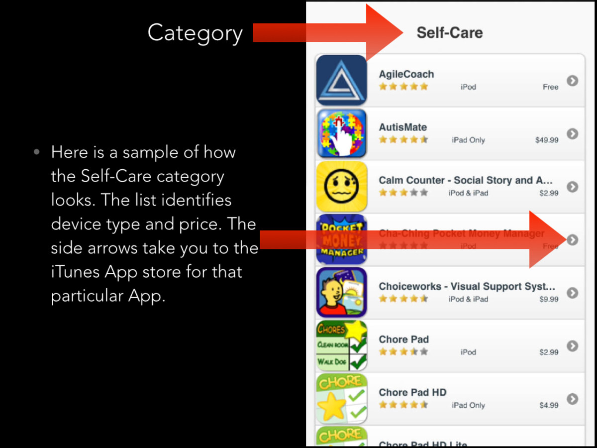 Autism Apps gives you the luxury of finding apps by category, device type, and price.