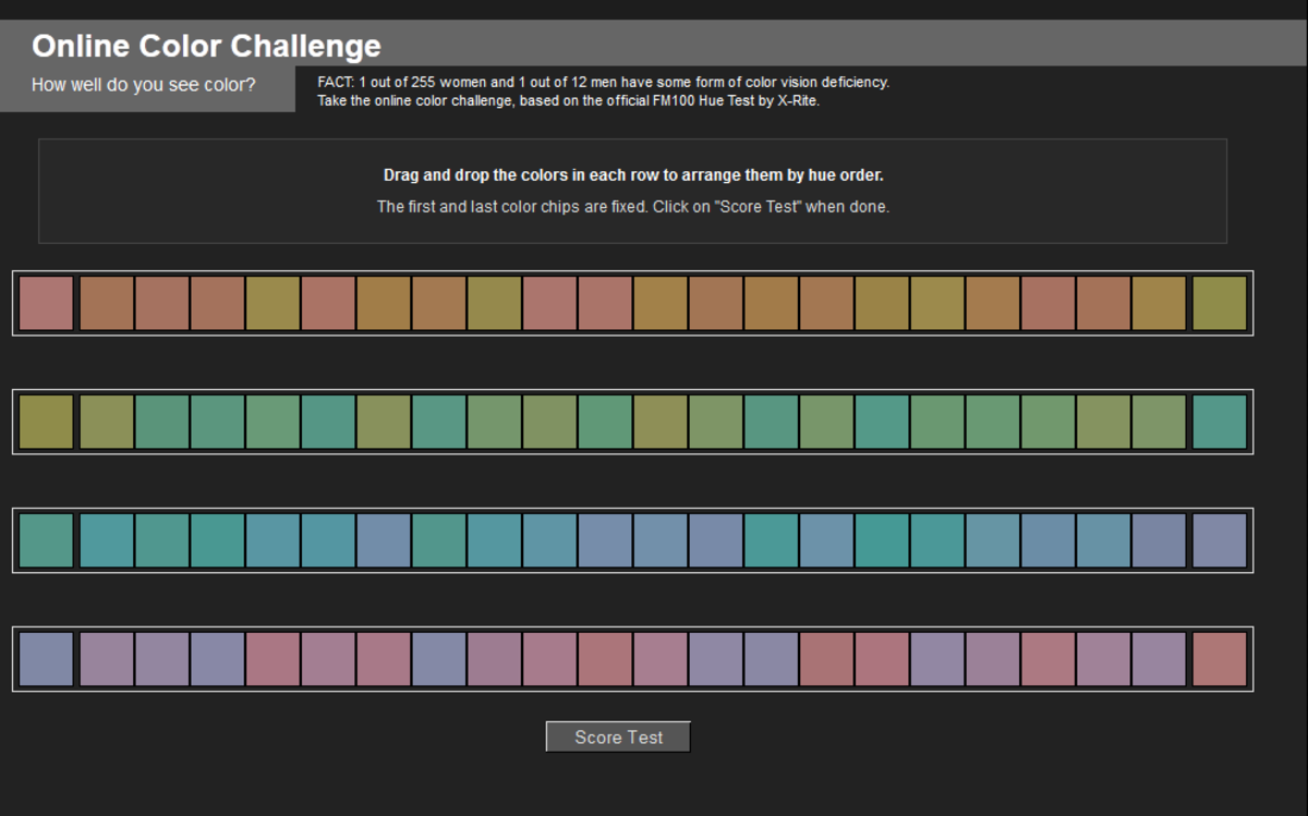 This is a screen shot of the Farnsworth Munsell 100 hue test a color blind test online. I completed it myself and scored a 7 (zero is a perfect score).