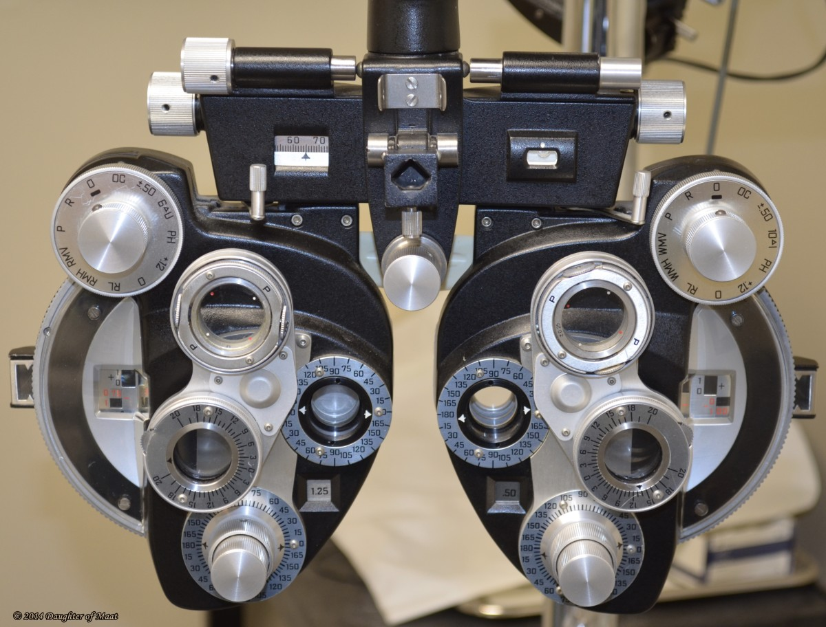 This device, called a phoropter, is used to determine a patient's glasses prescription.