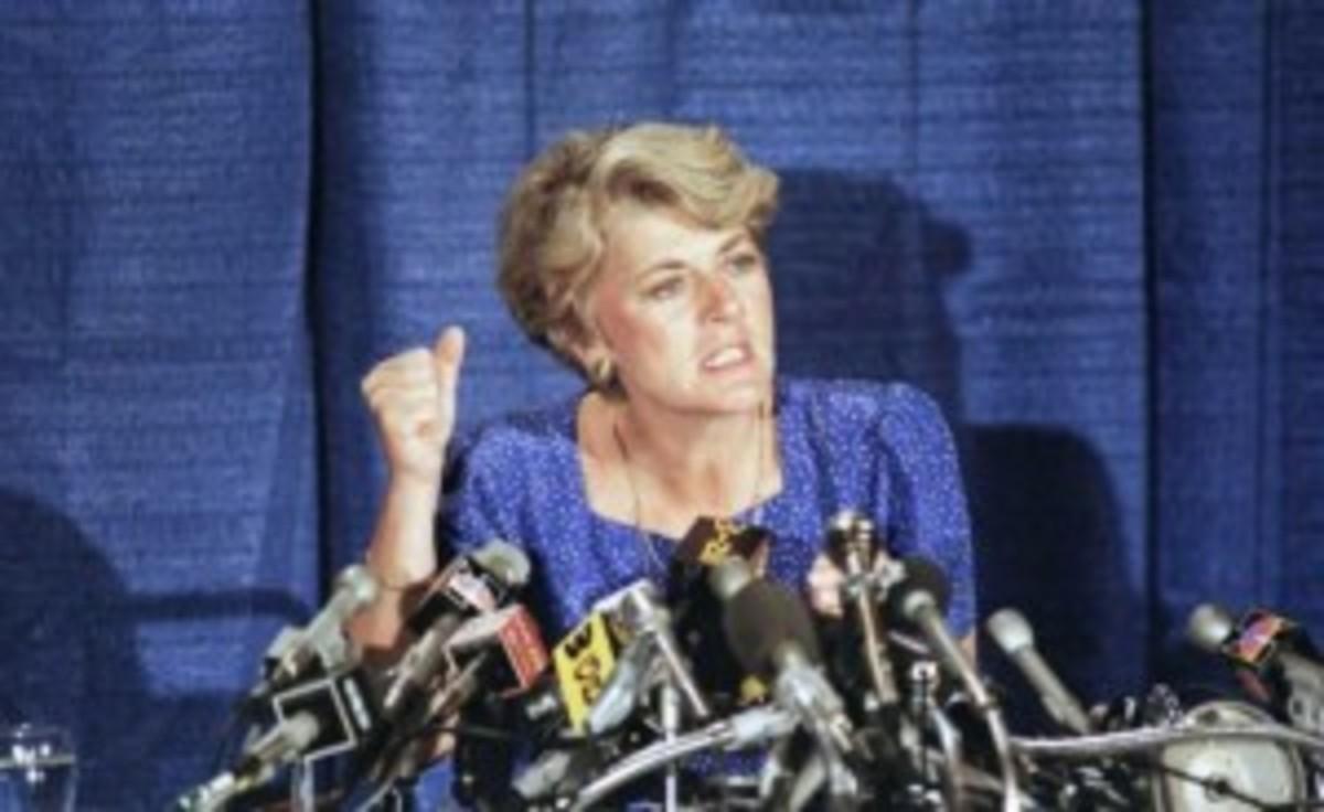 Geraldine Ferraro at a press conference, August 21,1984.