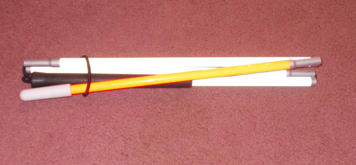 Some canes can be adjustable for the individual's needs, such as this folded one
