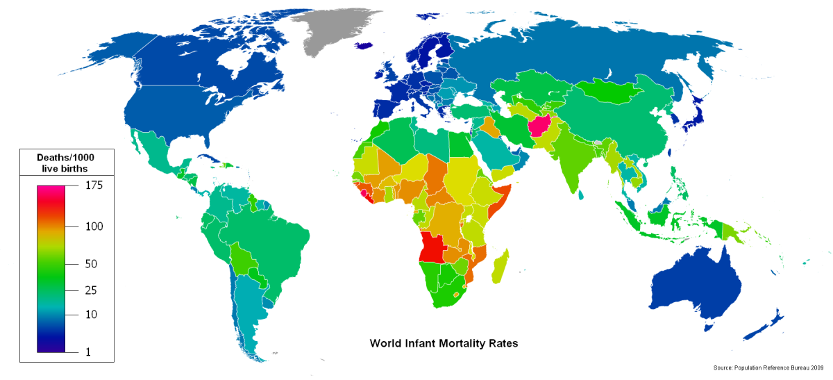 World infant mortality rates map showing deaths per 1000 live births. Data sourced from the Population Reference Bureau, 2009.