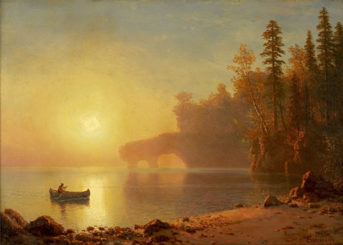 """Albert Bierstadt: """"Indian Canoe"""""""