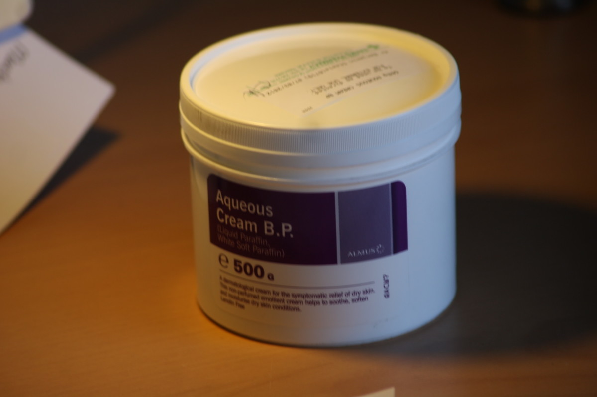 Aqueous cream, a commonly prescribed treatment for eczema.
