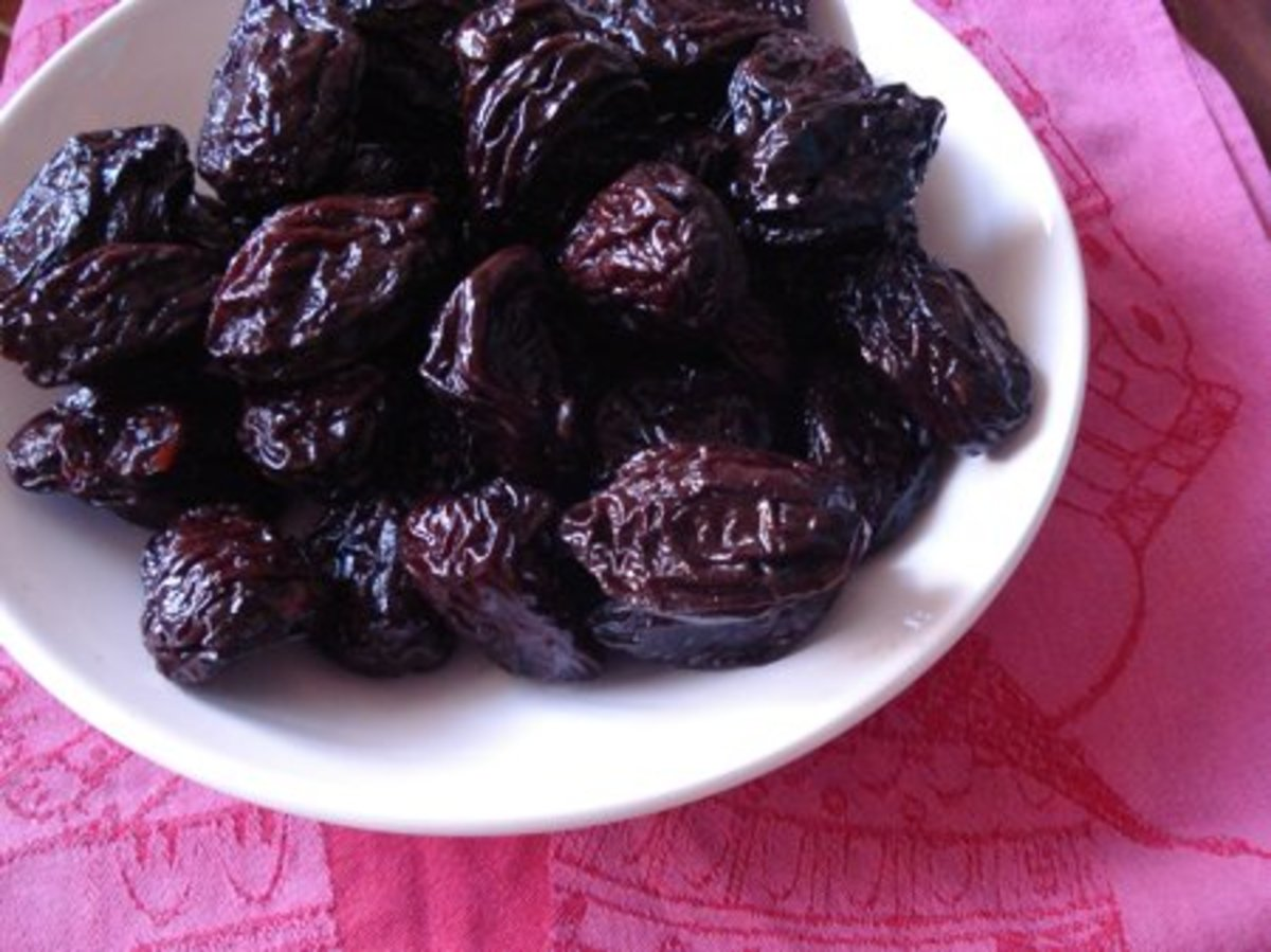 Prunes add fiber to your diet, which helps to keep bowels moving smoothly.