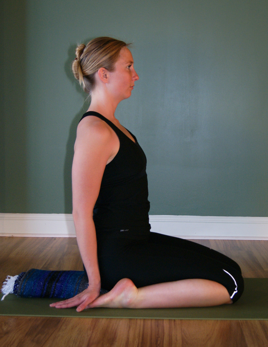 Virasana - sitting on one folded blanket