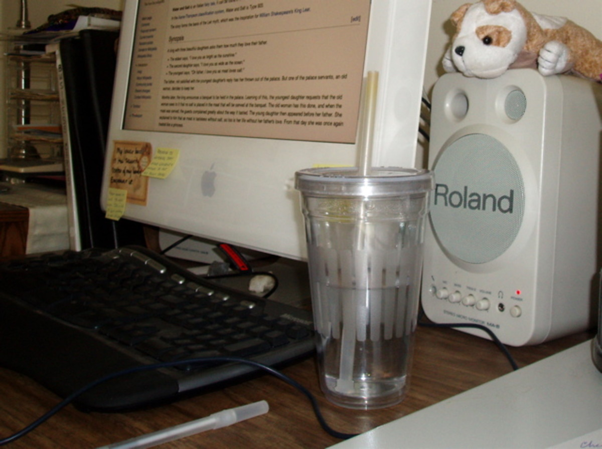 If you're a writer like me, or a programmer or gamer or some another kind of computer nerd, next to the computer is a great place to keep a bottle of water.