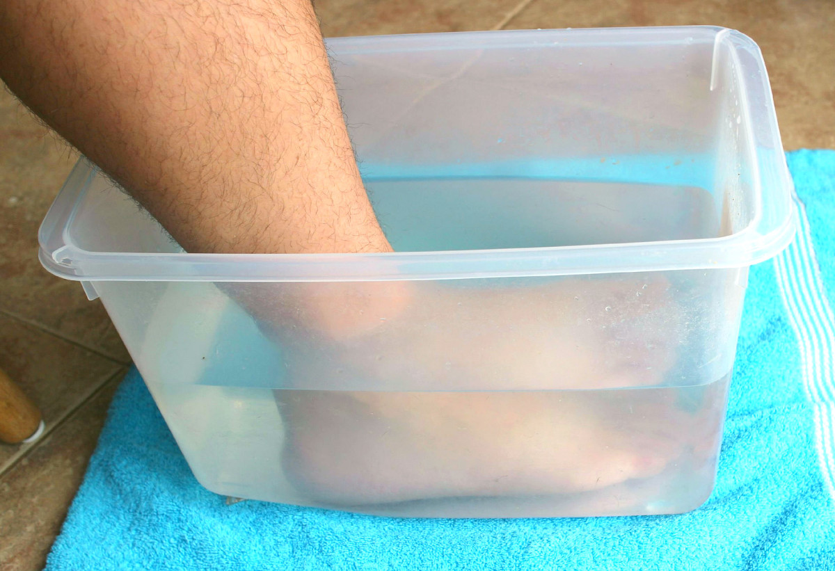 To bring your skin temperature back to normal, soak the burned area in warm (not hot) water.