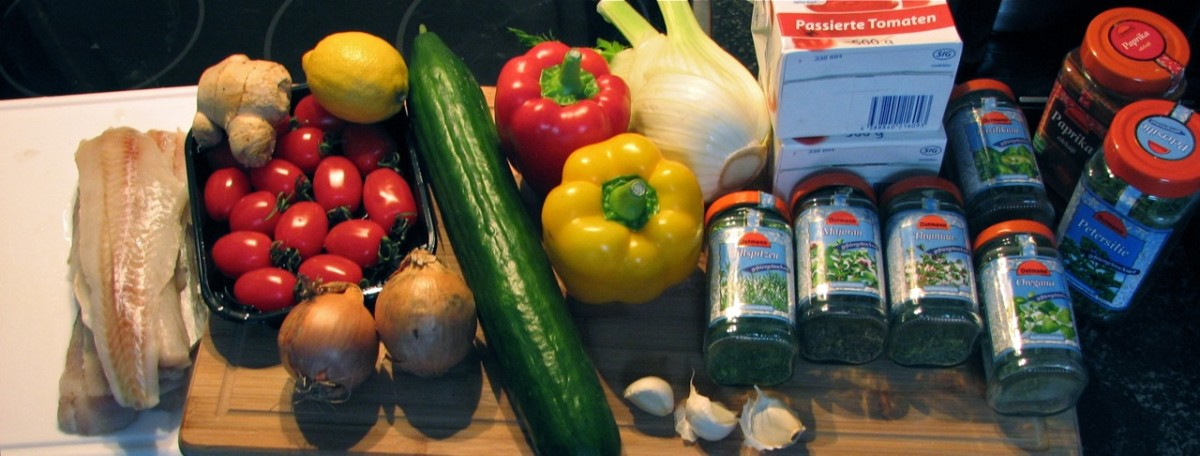 Ingredients for the fish soup before chopping. Less than half of the herbs/spices are shown.