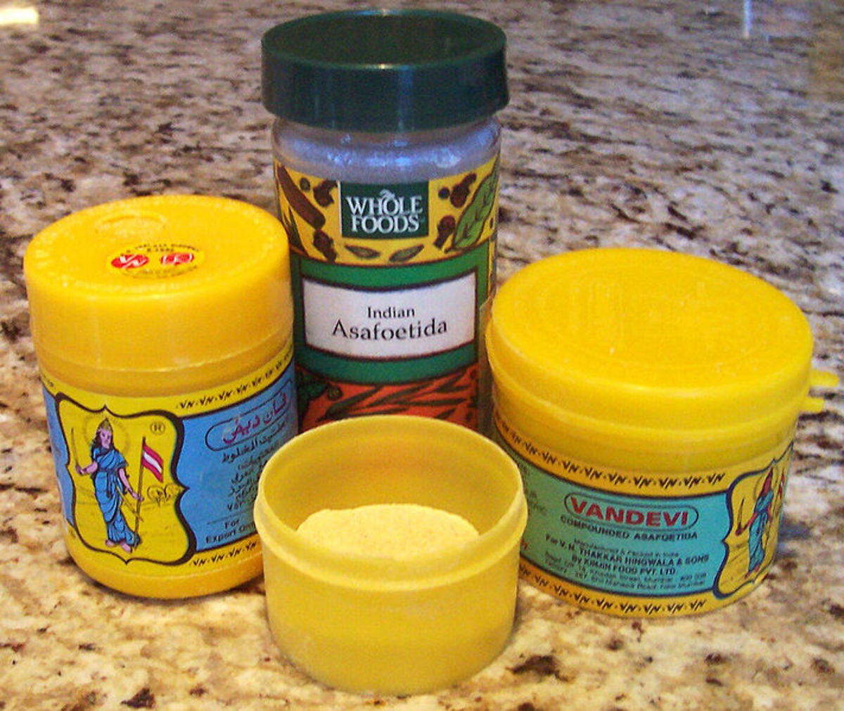 asafoetida powder in the forefront