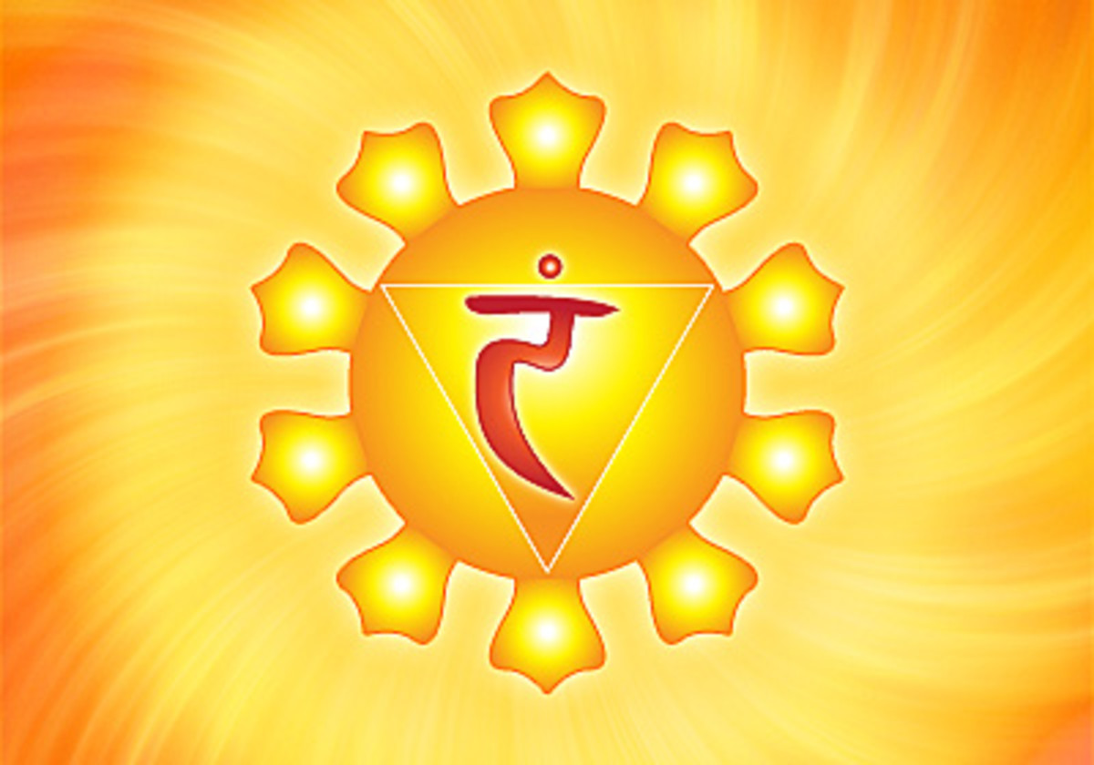 The symbol for the Solar Plexus Chakra, also known as Manipura.
