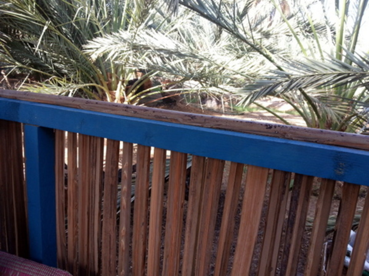 Date palm leave stalk used as vertical posts in railing for a small hut