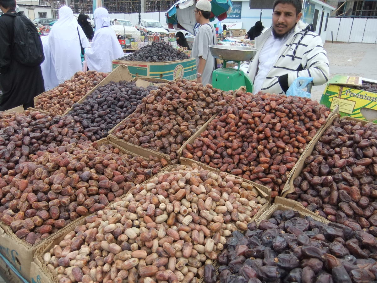 Various type of dates being sold at the open market in Saudi Arabia