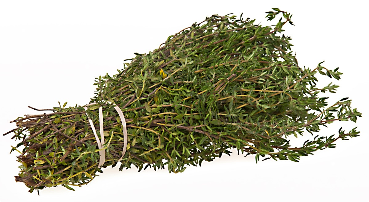 A bundle of dried thyme