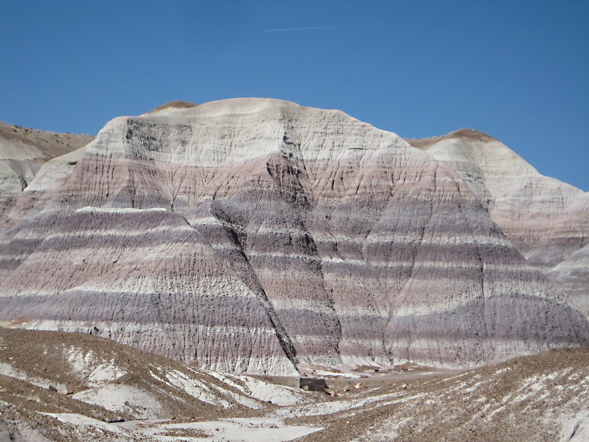 Petrified Forest National Park, Arizona: the white strips are made of bentonite clay