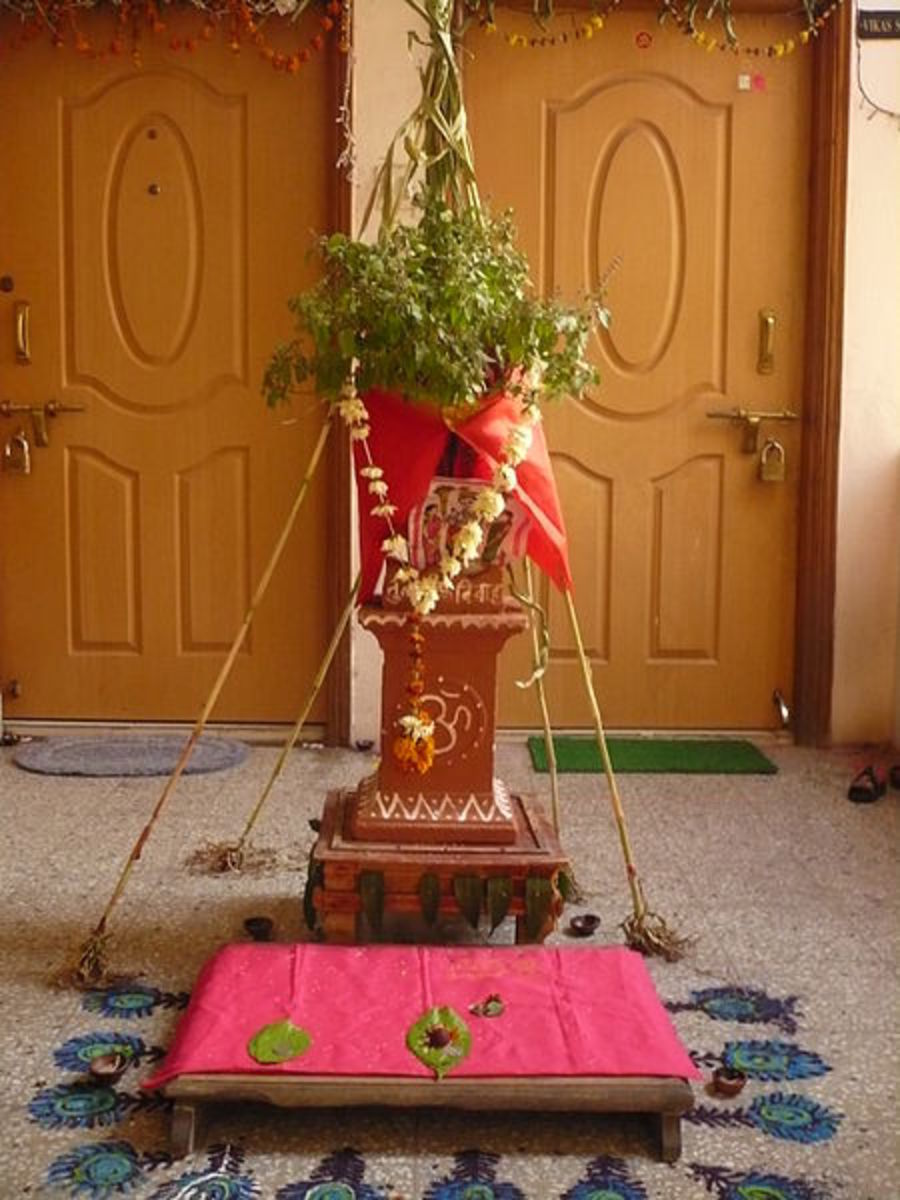Tulsi vivah is a ceremonial marriage of the tulsi with Lord Vishnu in Hinduism