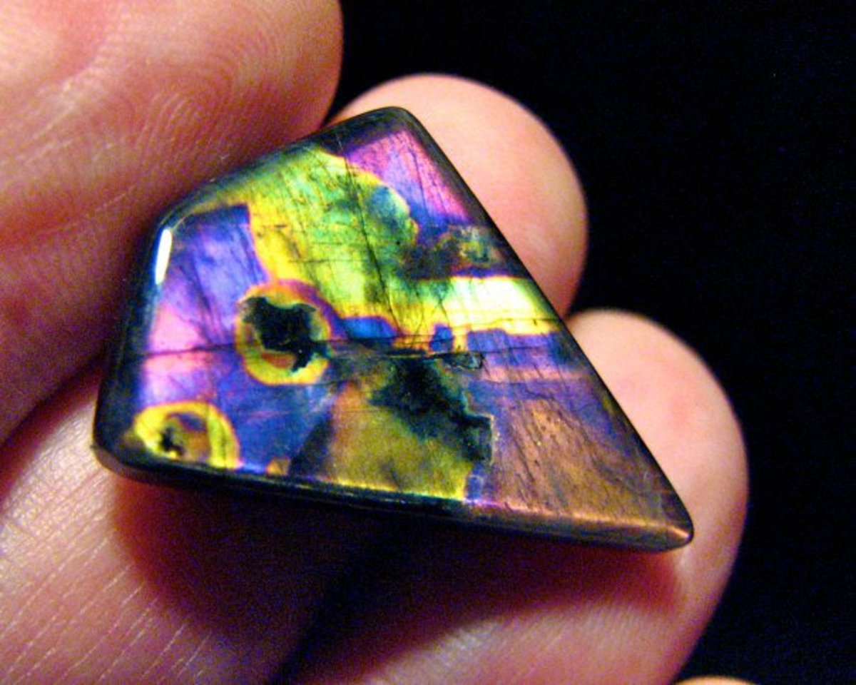 Polished spectrolite showing all the colors of the color spectrum.