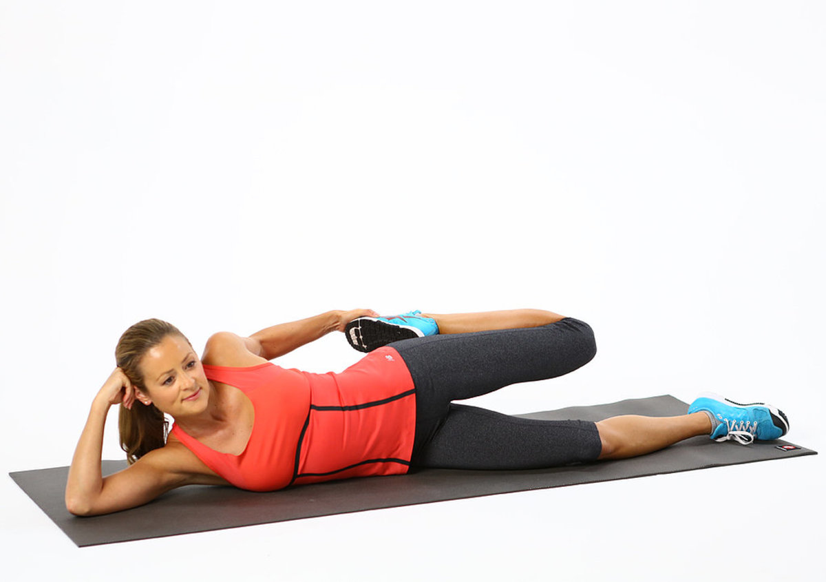 Lying-down quad stretch