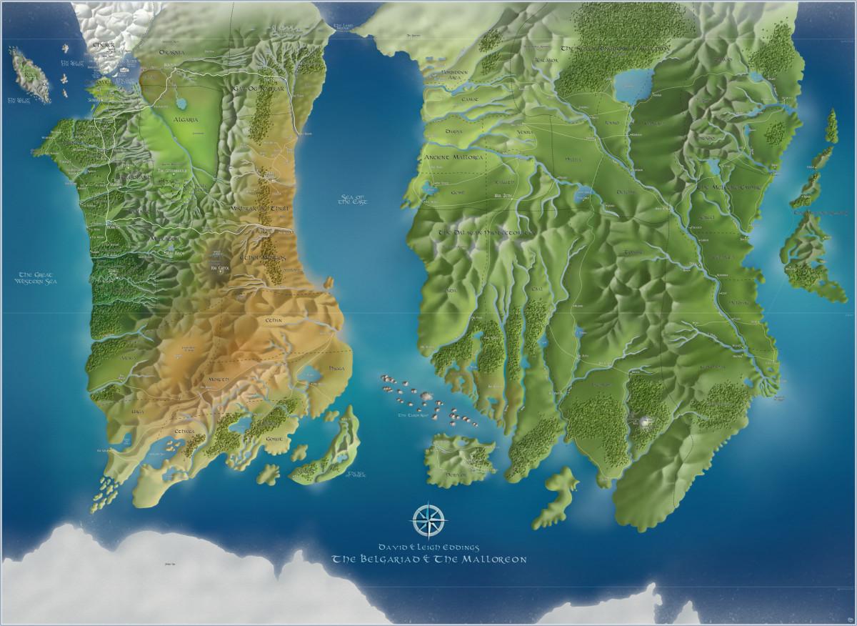 A digitised map of fantasy author David Eddings' world.