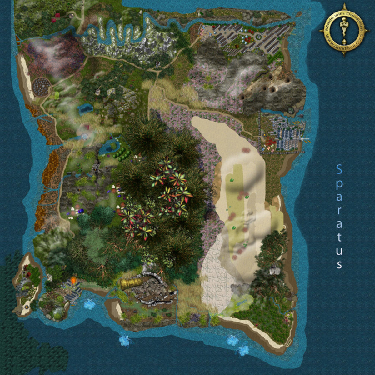 The country, Sparatus from the fantasy world, Azur during the Age of Ahnicus.  This creative map was made with Dunjinni mapping software.