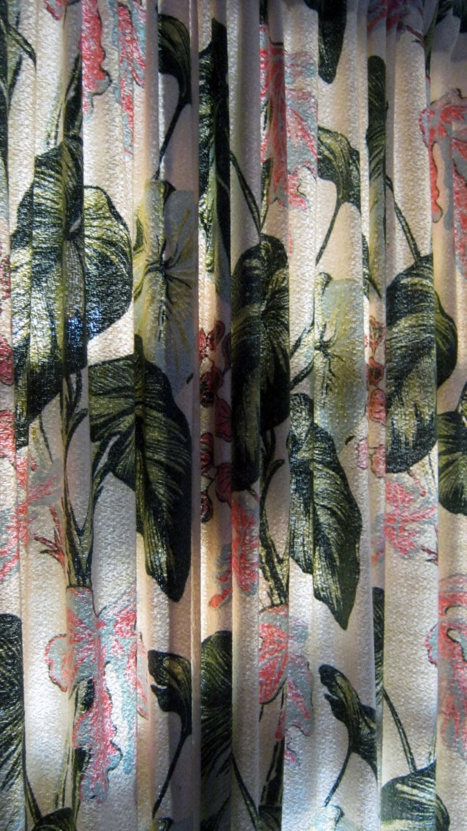 1940s Tropical Barkcloth - lipcovers recycled Into curtains