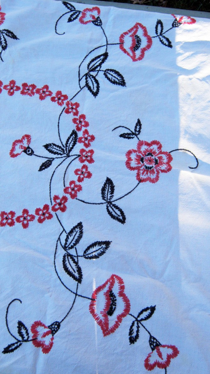 Old embroidered tablecloth