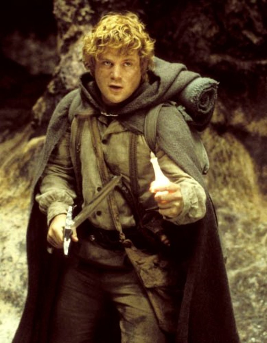 Sam battles Shelob, the giant spider, to save Frodo.