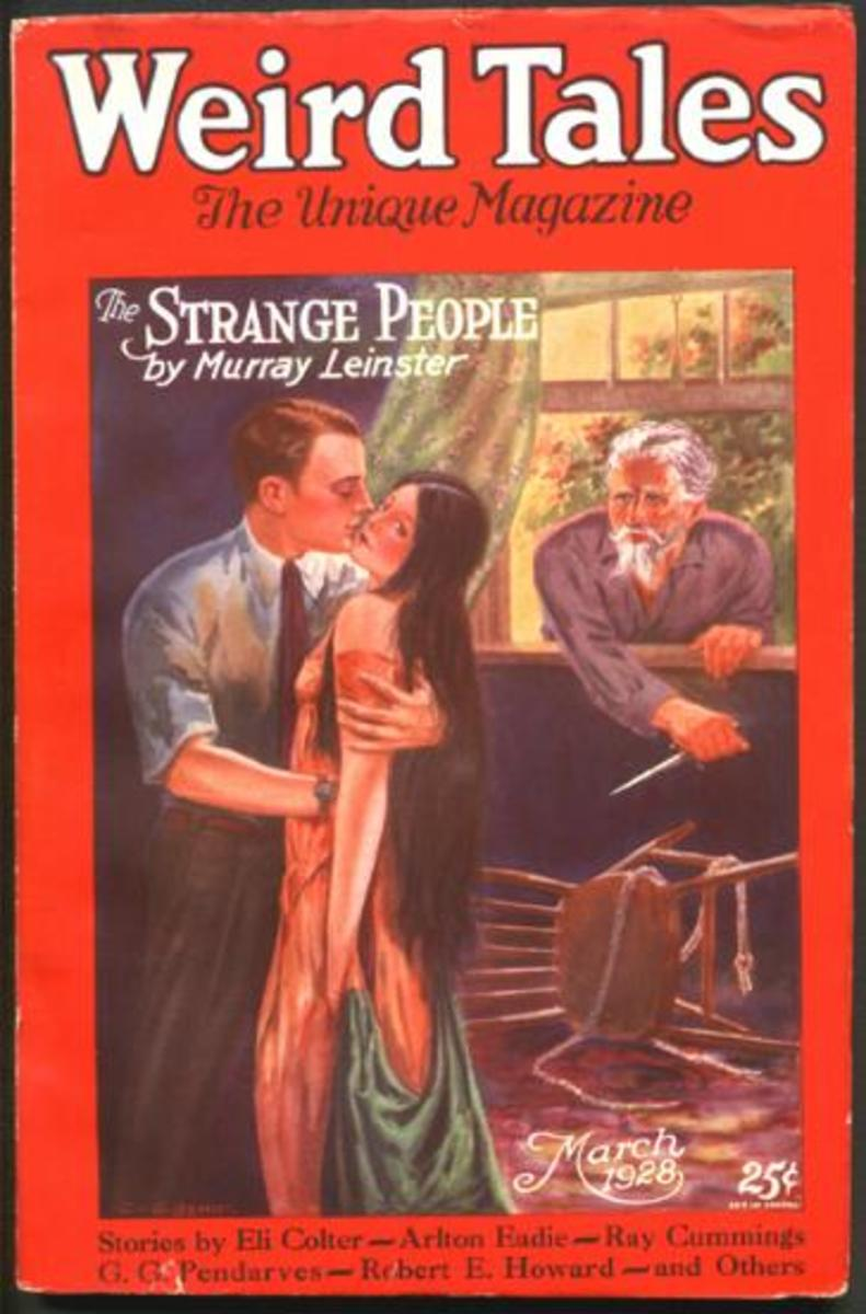 The March 1928 issue of Weird Tales, with a Murray Leinster short story on the cover.
