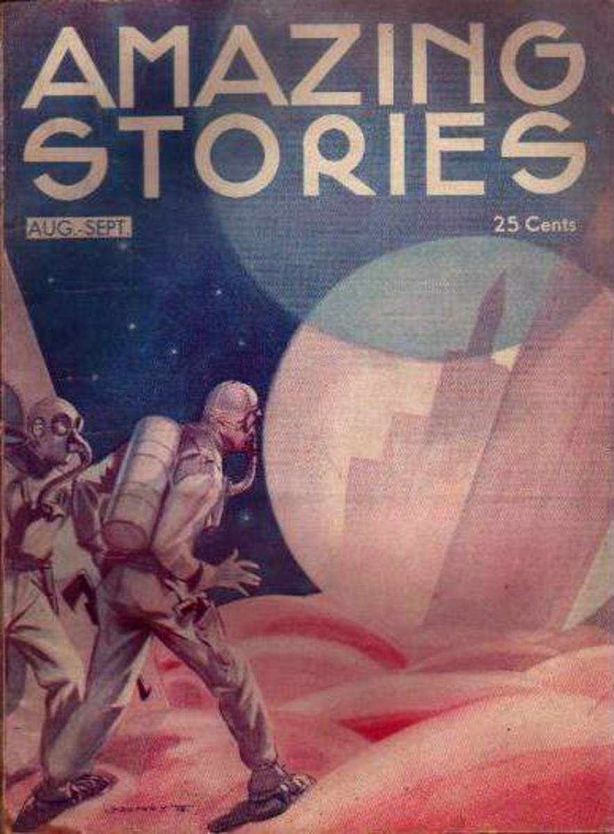 Amazing Stories magazine cover from the Golden Age of Science Fiction, August-September 1933.  Public domain photo