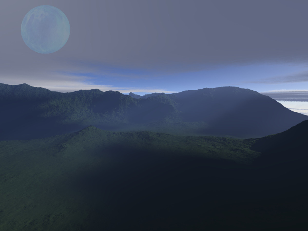 Alien landscape created with 'Terragin' showing a watery moon landscape. Fantasy world builders need to consider what effects satellites have on their worlds.