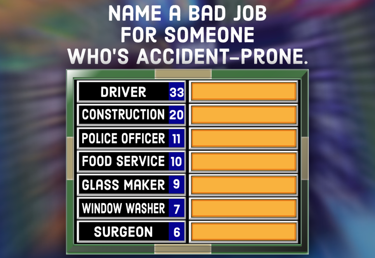 A question for your Family Feud party: Name a bad job for someone who's accident-prone.