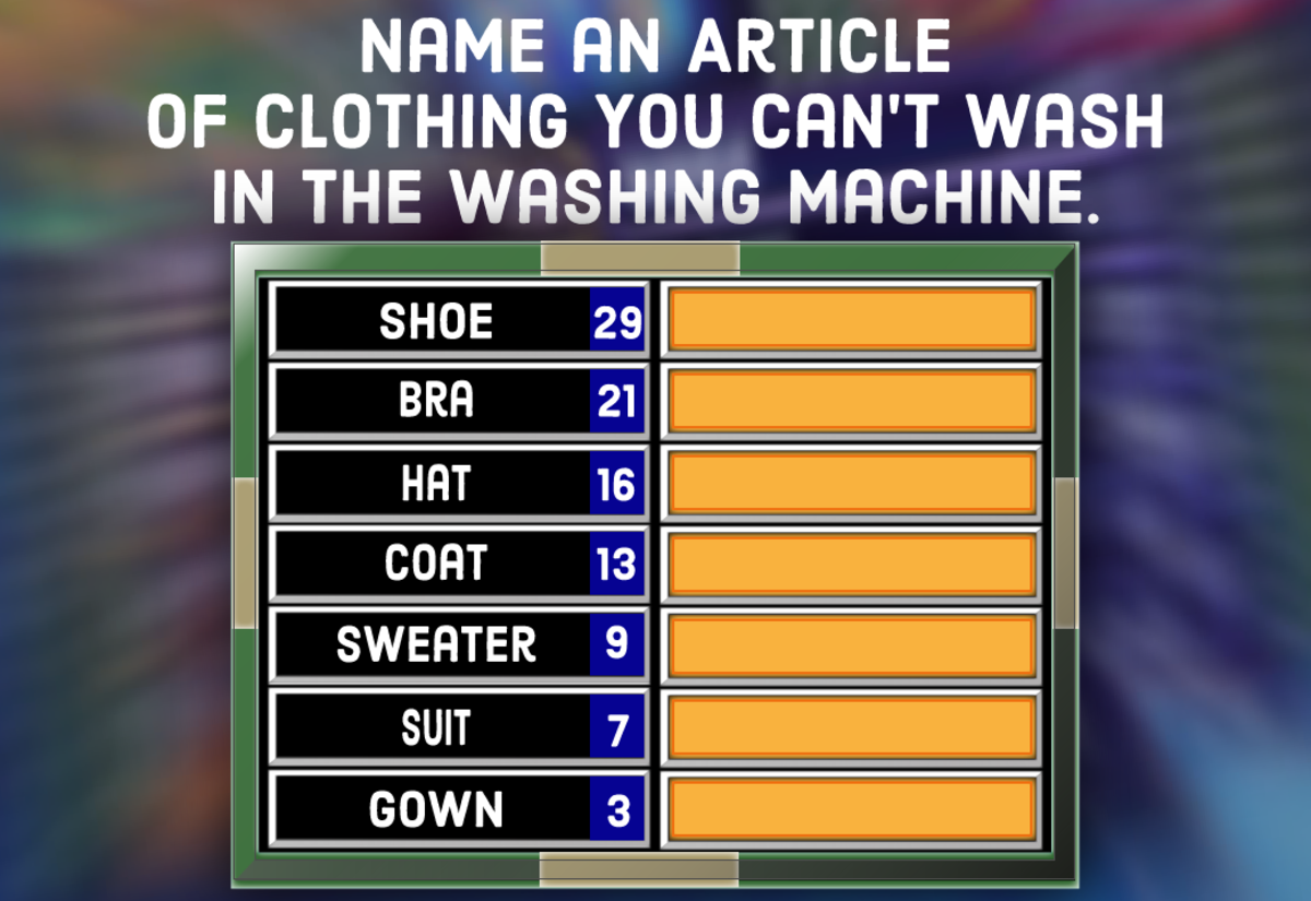 A question for your Family Feud party: Name an article of clothing you can't wash in the washing machine.