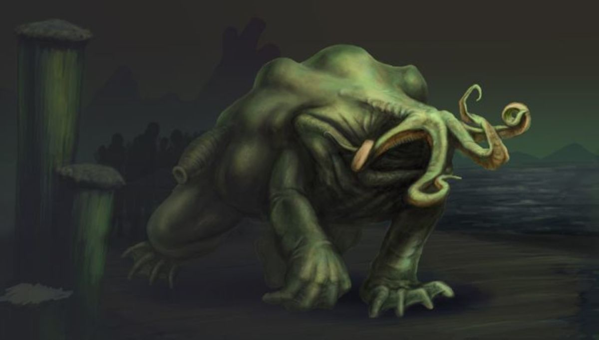 A depiction of one of Lovecraft's moon-beasts