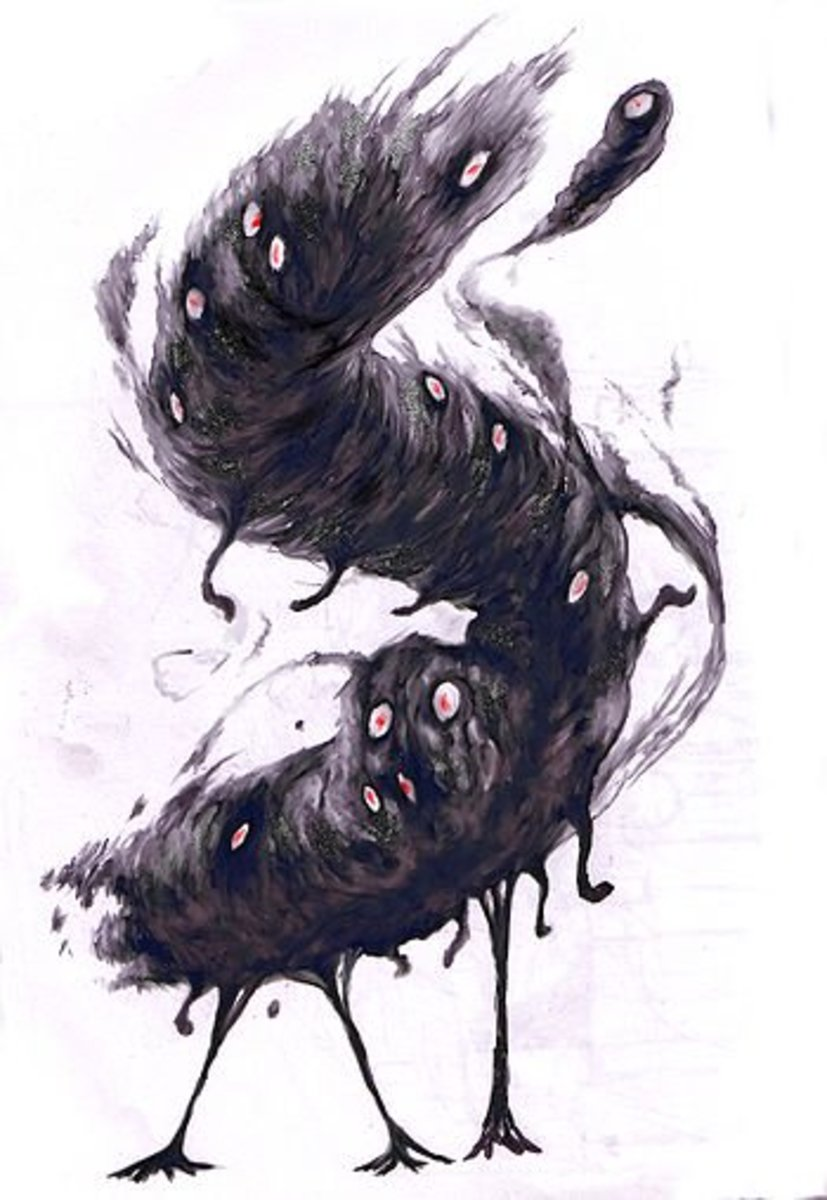A depiction of one of Lovecraft's flying polyps