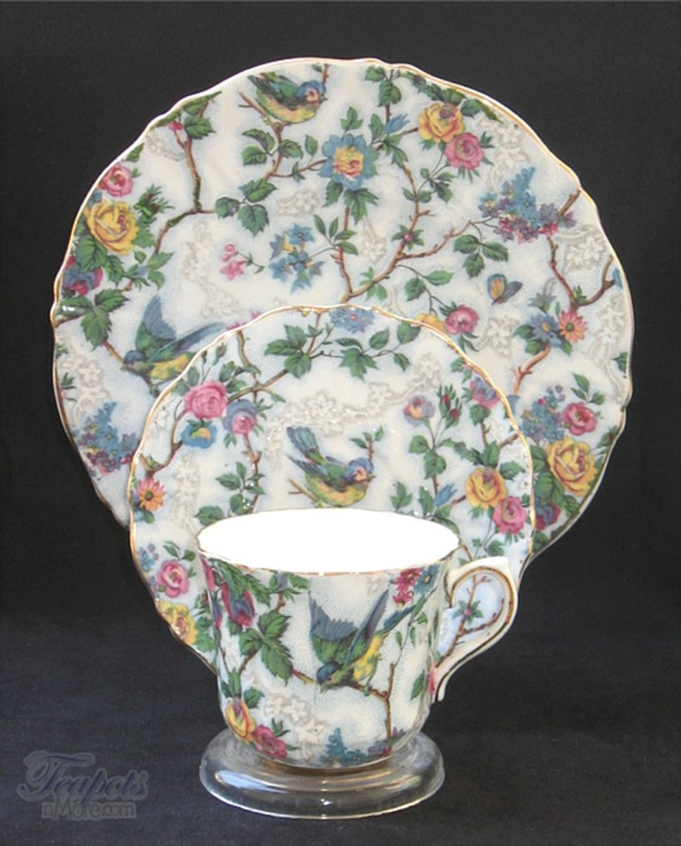 Old Royal Lorna Doone Chintz Tea Cup, Saucer, Plate Trio