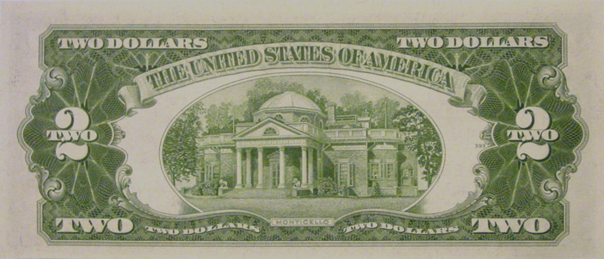 1953 Red Seal Two Dollar Bill Reverse
