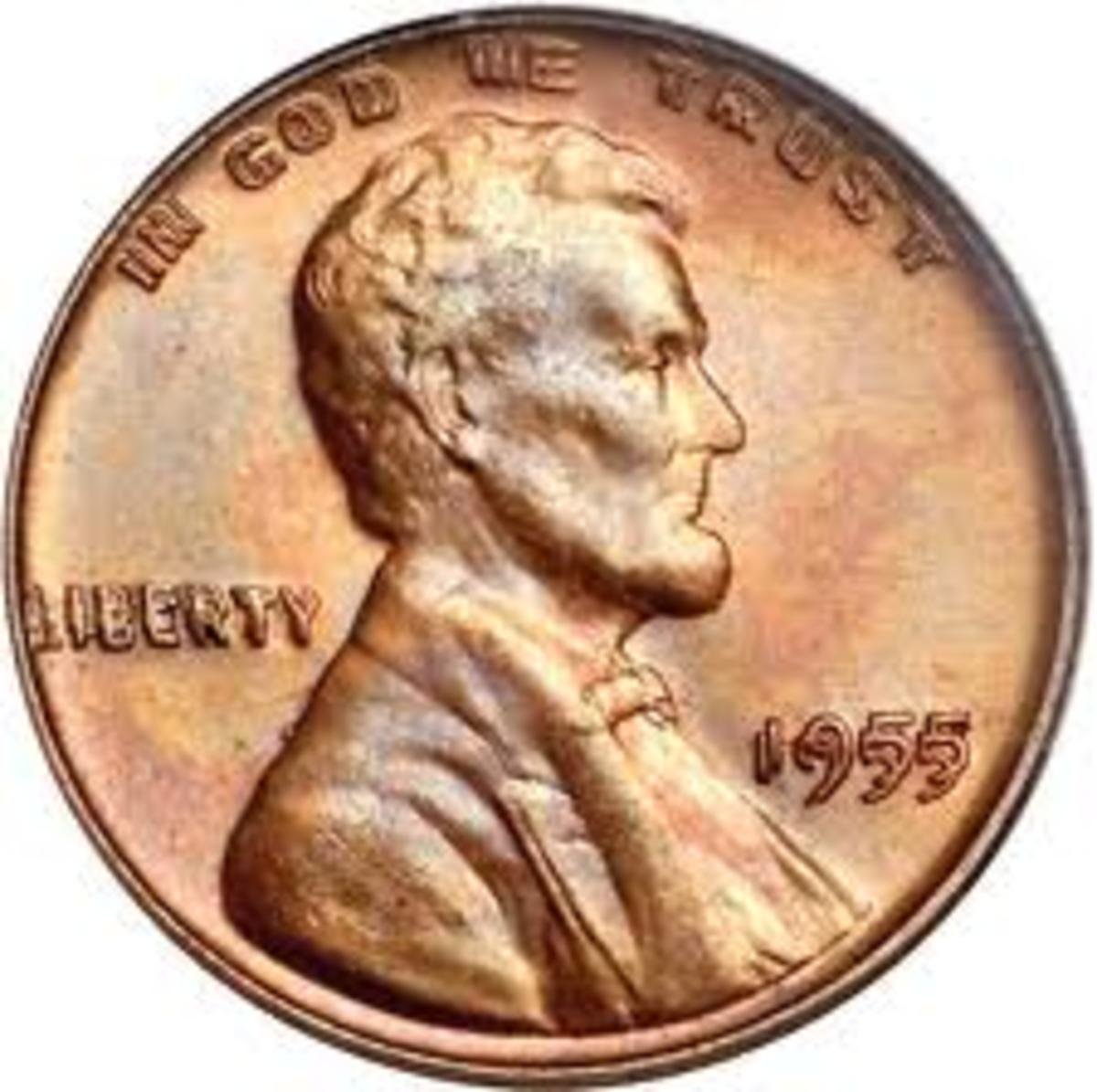 "This is a picture of the 1955 double die wheat penny. You can clearly see the doubling in ""LIBERTY"", ""IN GOD WE TRUST"", and the date. It is worth thousands."